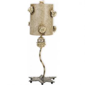 LA FLEURETTE traditional romantic table lamp with rosette floral detail