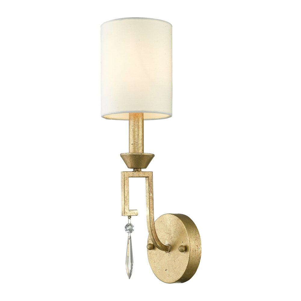 Single Wall Light In Distessed Gold With Ivory White Linen Shade