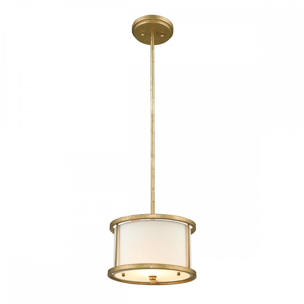 Mini Ceiling Pendant In Distressed Gold With Ivory Linen Shade