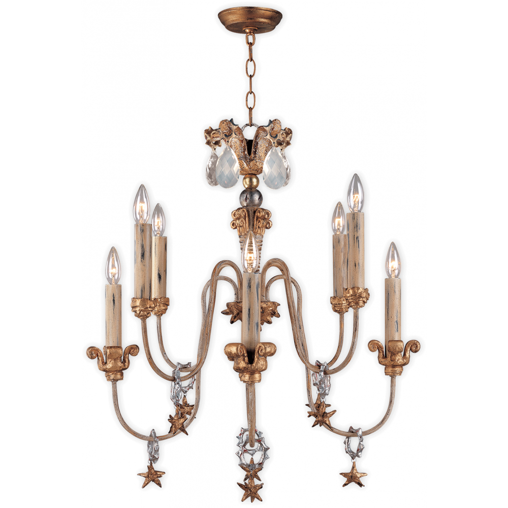 Antique Gold French Inspired Chandelier Crystal Drops And