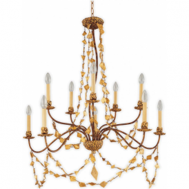 MOSAIC large 10 light mosaic gold chandelier