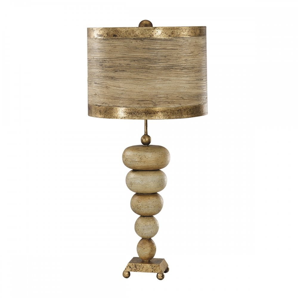 Modern Textured Pebble Table Lamp With Gold Leaf Base And Shade
