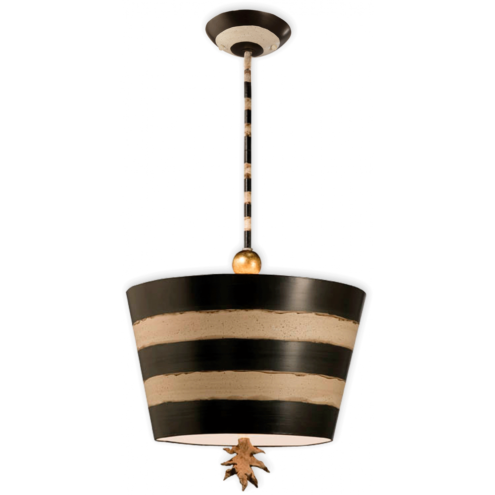 Black And Cream Striped Ceiling Pendant With Sculptured