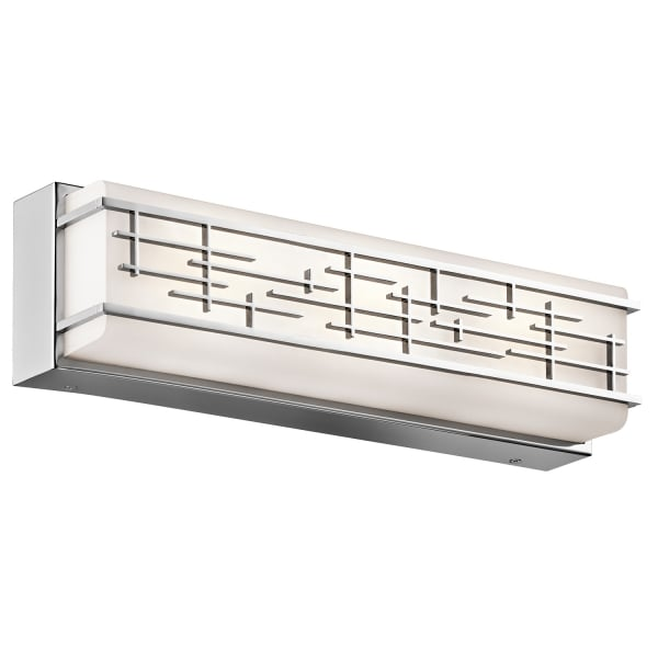 Bathroom Lights Art Deco: IP44 Art Deco Style Bathroom Wall Light, Chrome With Opal