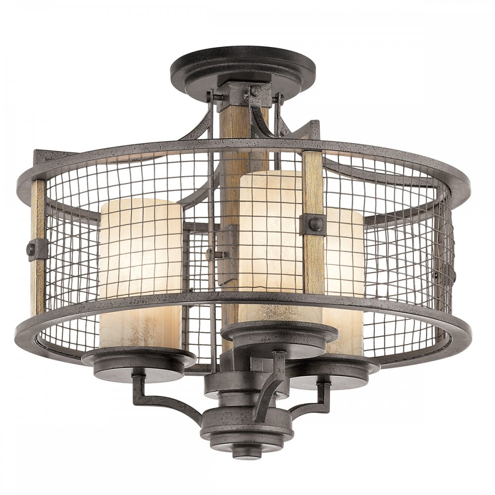 Rustic Ceiling Light With Dual Mount Use With Or Without