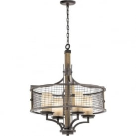 AHRENDALE rustic iron pendant ceiling light with wood detailing