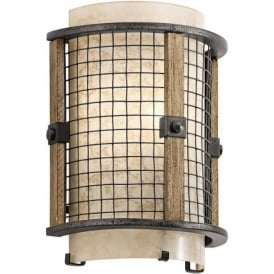 AHRENDALE single flush fitting curved wall light in rustic iron finish