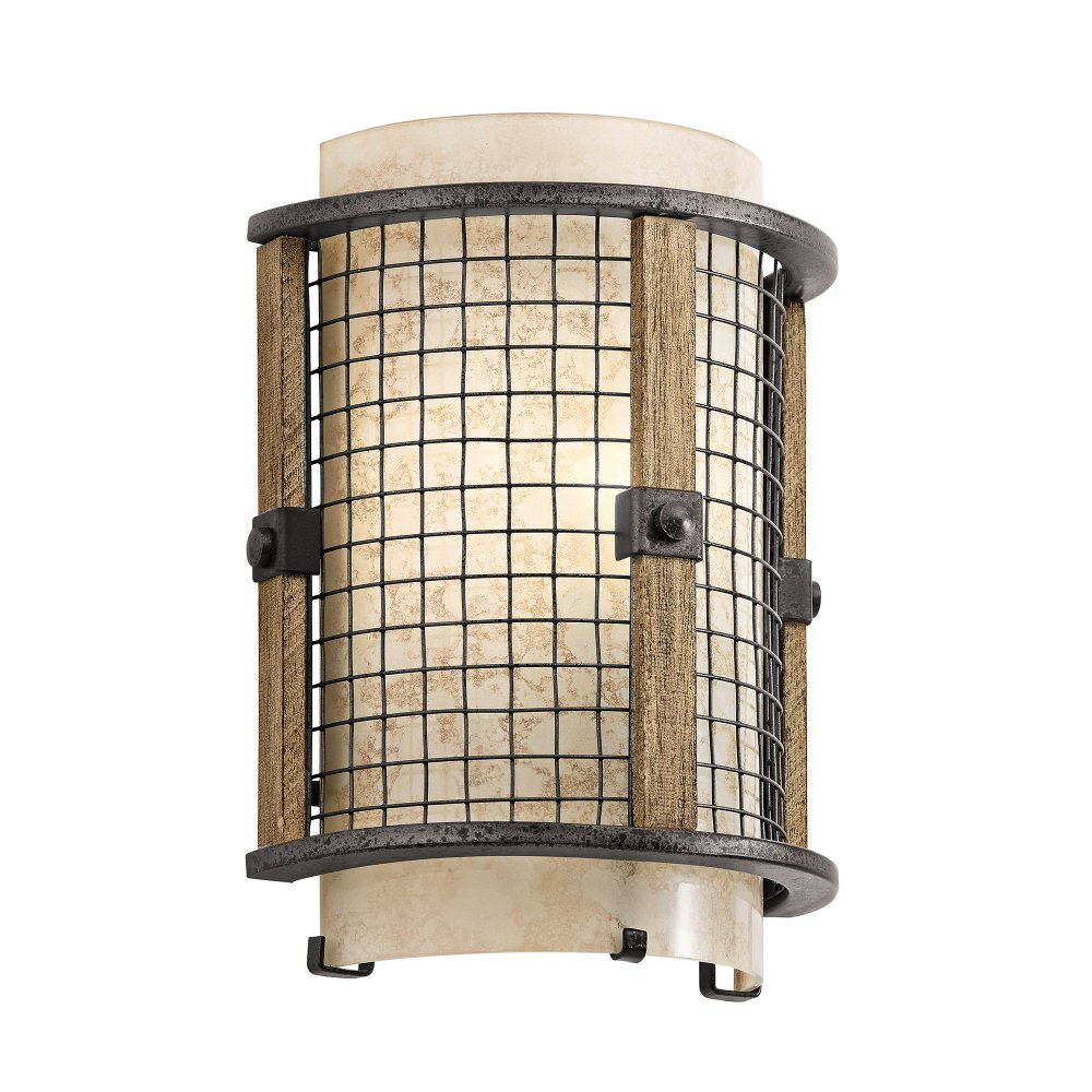 Wall Lights York: Rustic Style Wall Light With Open Iron Mesh Frame And Mica