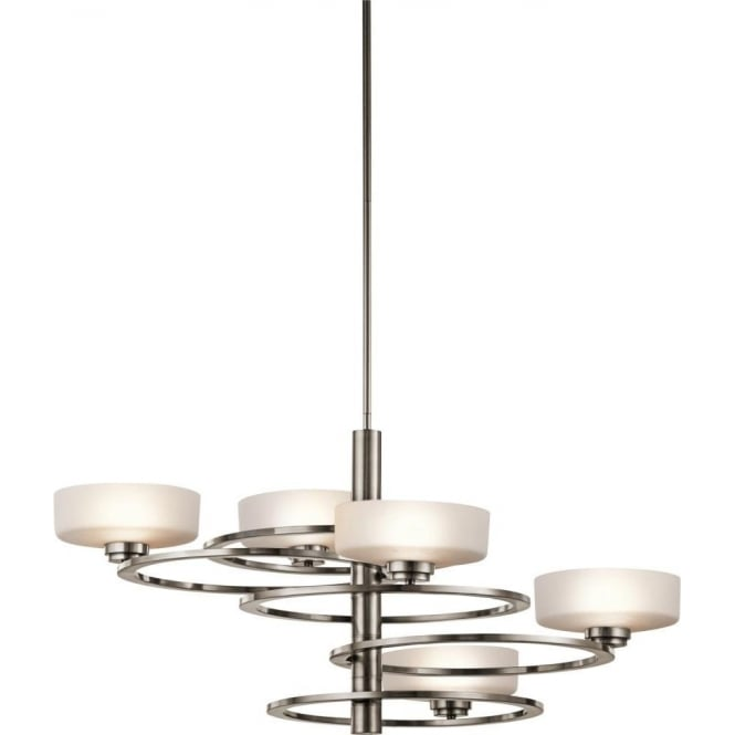 Modern Chandeliers Nyc: Modern Pewter Frame Ceiling Light With Orbiting Opal Glass