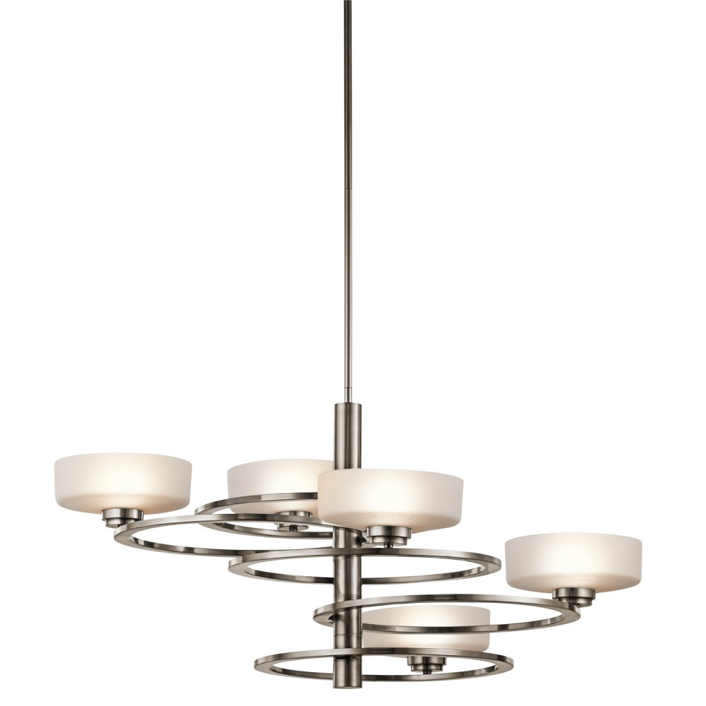 Modern pewter frame ceiling light with orbiting opal glass for Modern hanging pendant lights