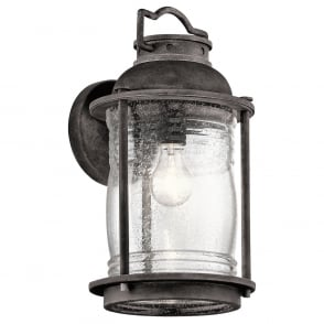 New York Lighting Collection ASHLAND BAY IP44 traditional outdoor wall lantern in weathered zinc - large