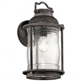 ASHLAND BAY IP44 traditional outdoor wall lantern in weathered zinc - large