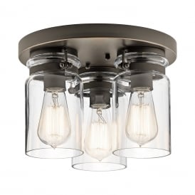 BRINLEY flush fitting bronze ceiling light with glass jar shades