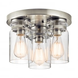 BRINLEY flush fitting brushed nickel ceiling light with glass jar shades