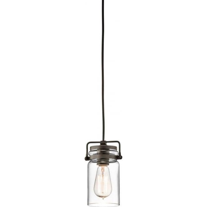 Mini Glass Jar Hanging Pendant Light, Bronze Detailing And