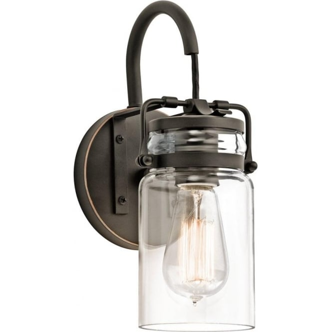 Wall Lights York: Traditional Bronze Wall Light With Clear Jam Jar Glass Shade