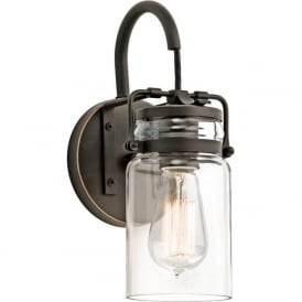 BRINLEY single wall light with glass jar shade and bronze fitting