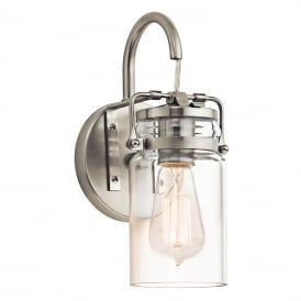 BRINLEY single wall light with glass jar shade on nickel fitting