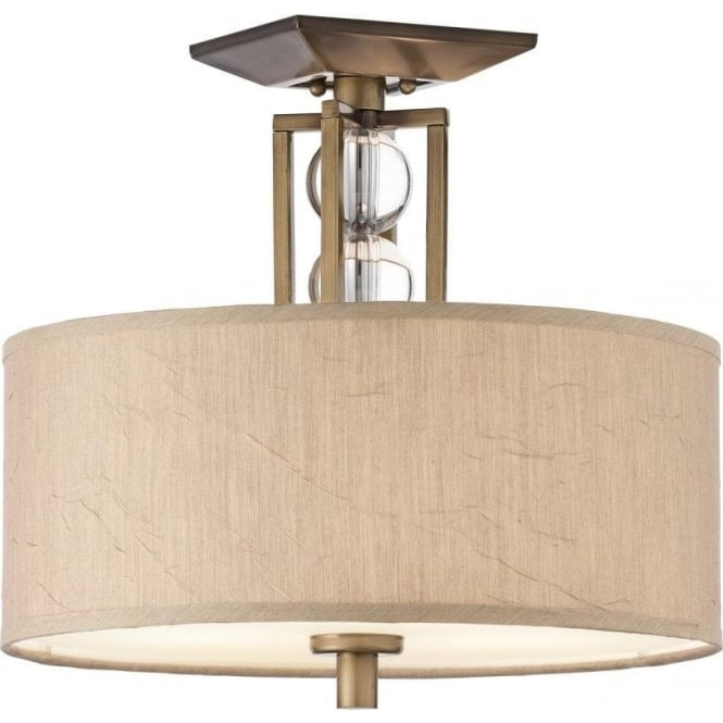 Semi flush fitting ceiling light taupe drum shade and crystal spheres celestial traditional semi flush ceiling drum shade for low ceilings aloadofball Gallery