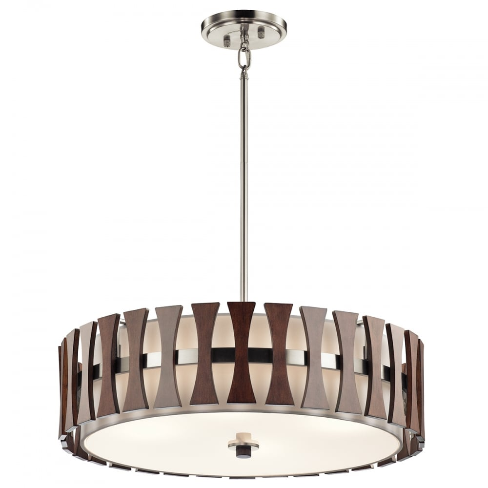 Cirus drum pendant or semi flush fitting ceiling light with dark wooden accents