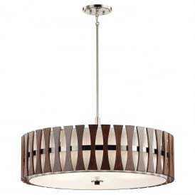 CIRUS large drum pendant or semi-flush fitting ceiling light with dark wooden accents
