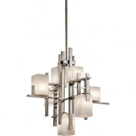 CITY LIGHTS Deco style pewter and glass modern chandelier