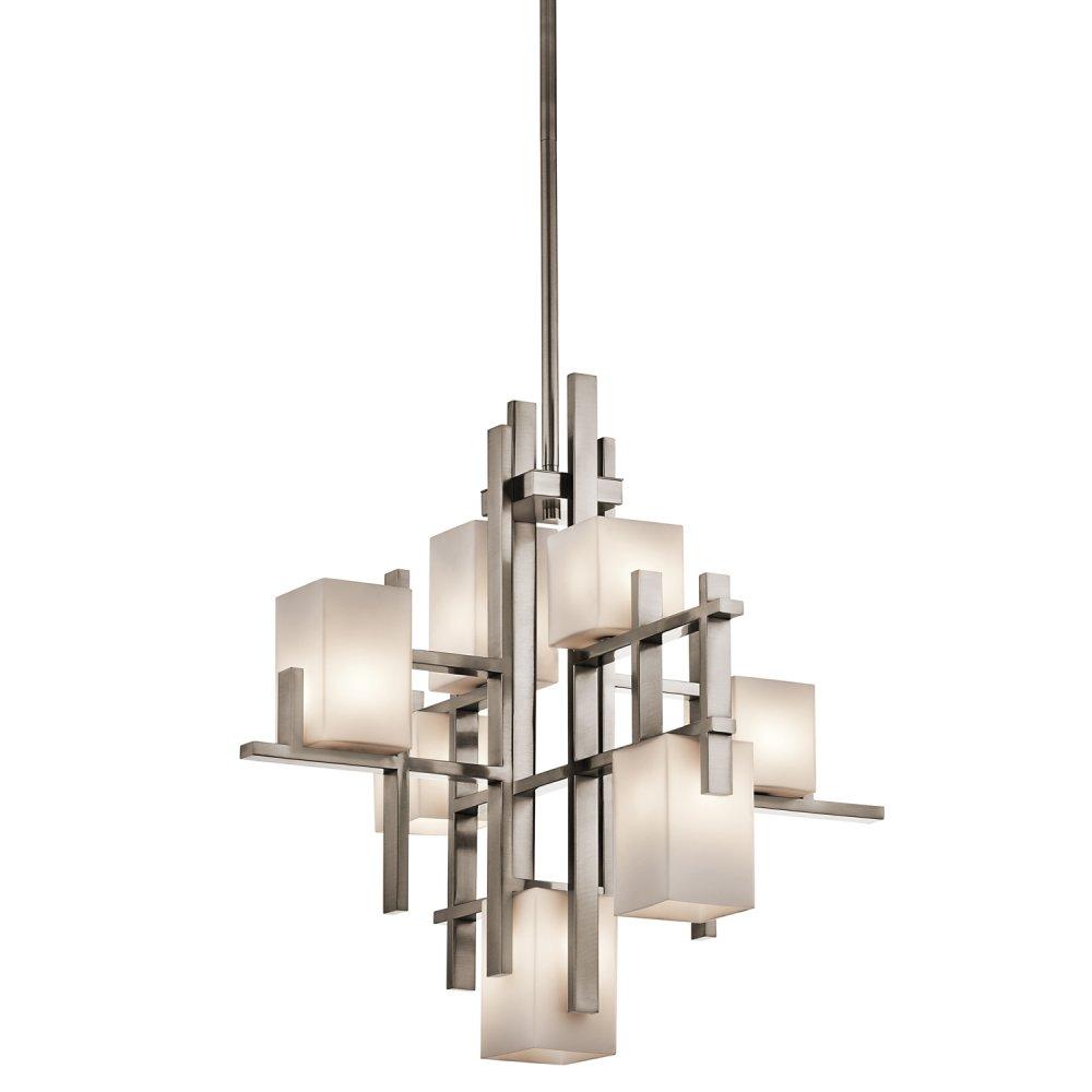 Modern Chandeliers Nyc: Modern Art Deco Chandelier, Pewter Criss-Cross Bars, Opal