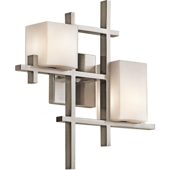 Deco style wall light fitting with pewter grid and opal glass shades city lights modern deco style feature wall light aloadofball Gallery