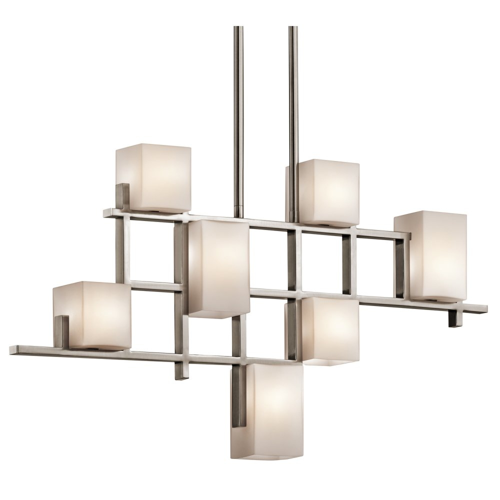 Modern art deco linear ceiling light pewter grid opal glass shades for Moderne deco