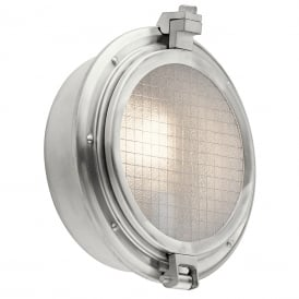 CLEARPOINT nautical porthole style outdoor wall light in aluminium with wire mesh glass