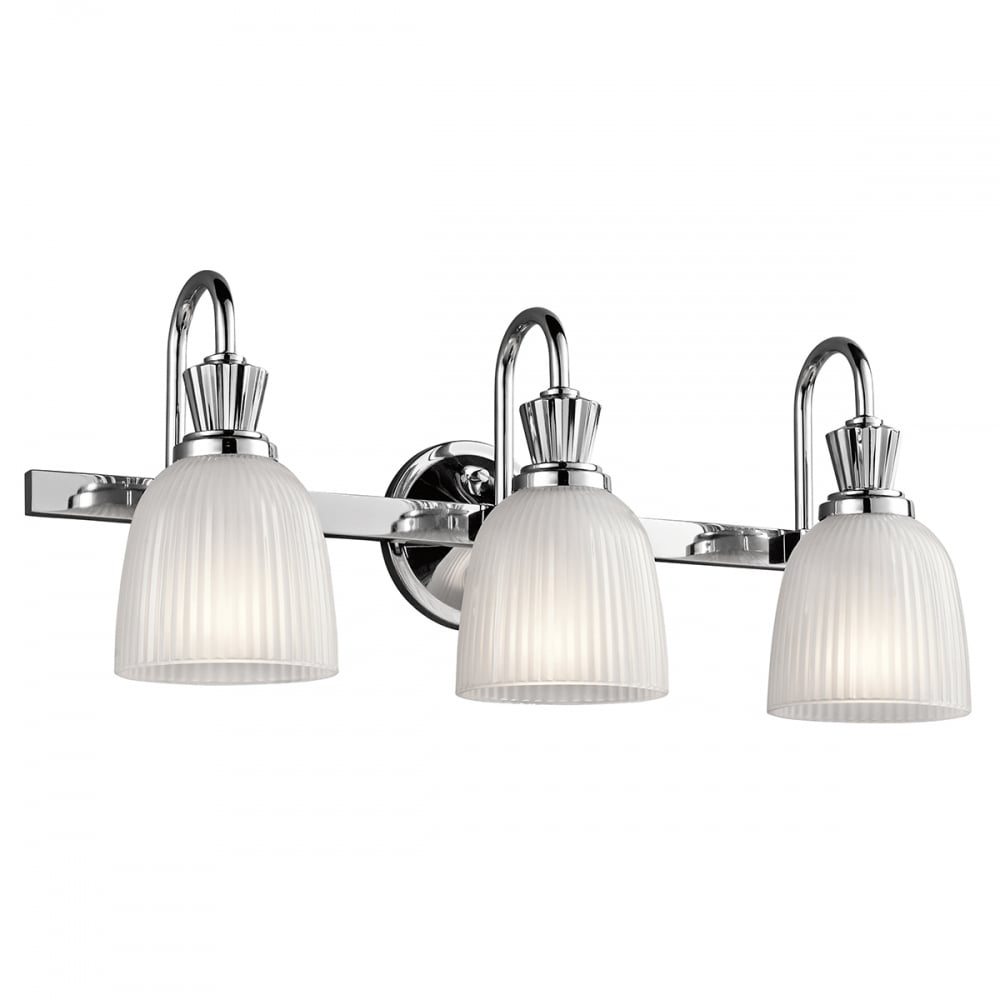 light fixtures above bathroom mirror cora led bathroom mirror wall light with 3 ribbed 23683