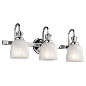 CORA over mirror LED bathroom wall light in chrome with 3 ribbed glass shades