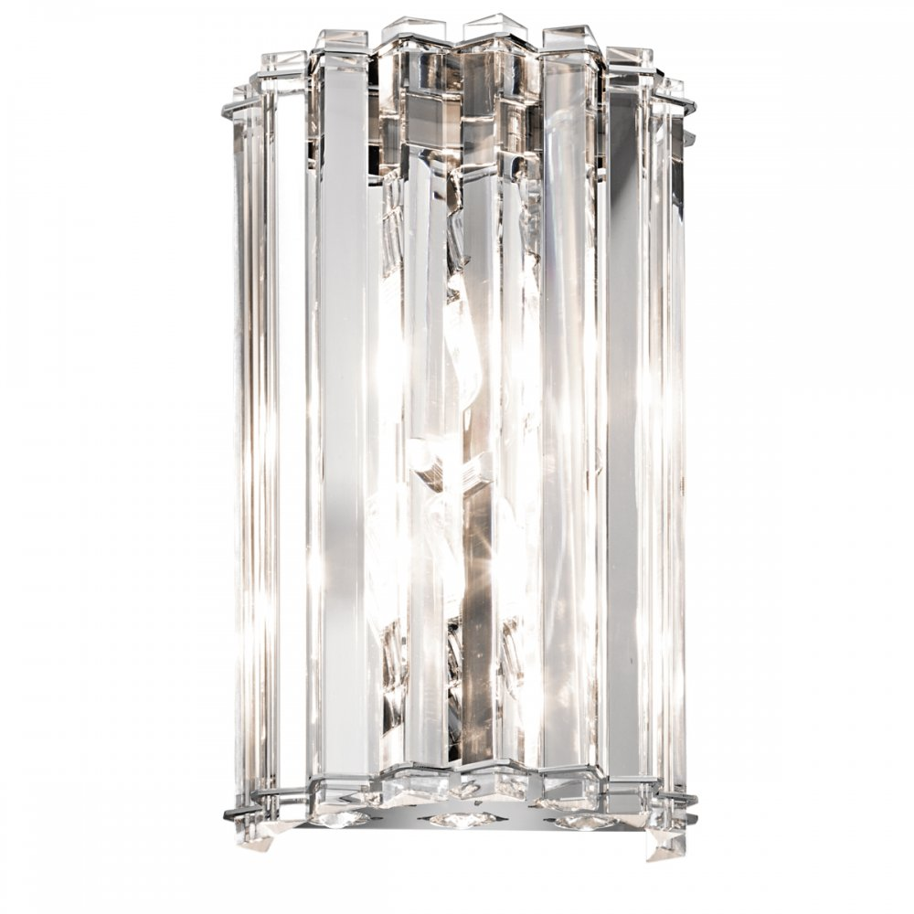 Curved Crystal Wall Light, Triangluar Crystal Rods in Chrome Frame