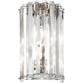 CRYSTAL SKYE modern IP44 flush fitting LED bathroom wall light with crystal prism rods