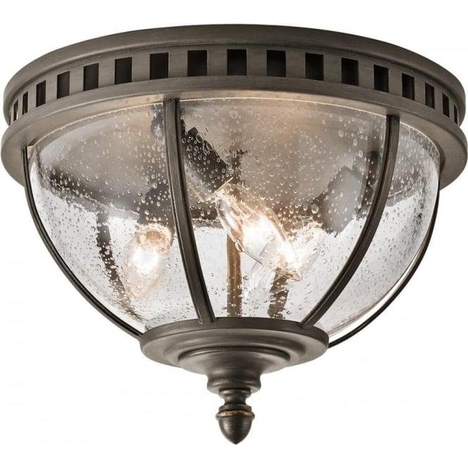Porchlight New York: Circular Flush Fitting Porch Light IP44, Bronze Frame And