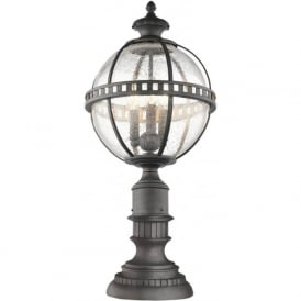 HALLERON traditional outdoor pedestal or gate post light with Victorian globe shade