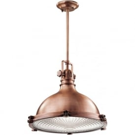 HATTERAS BAY large ceiling pendant, industrial style in antique copper