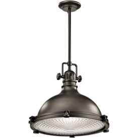HATTERAS BAY large ceiling pendant, industrial style in olde bronze