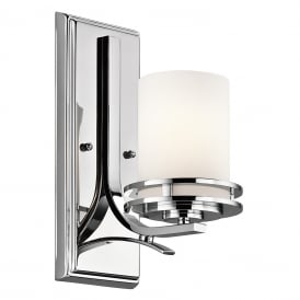 HENDRIK Deco style LED bathroom wall light - chrome with satin glass shade