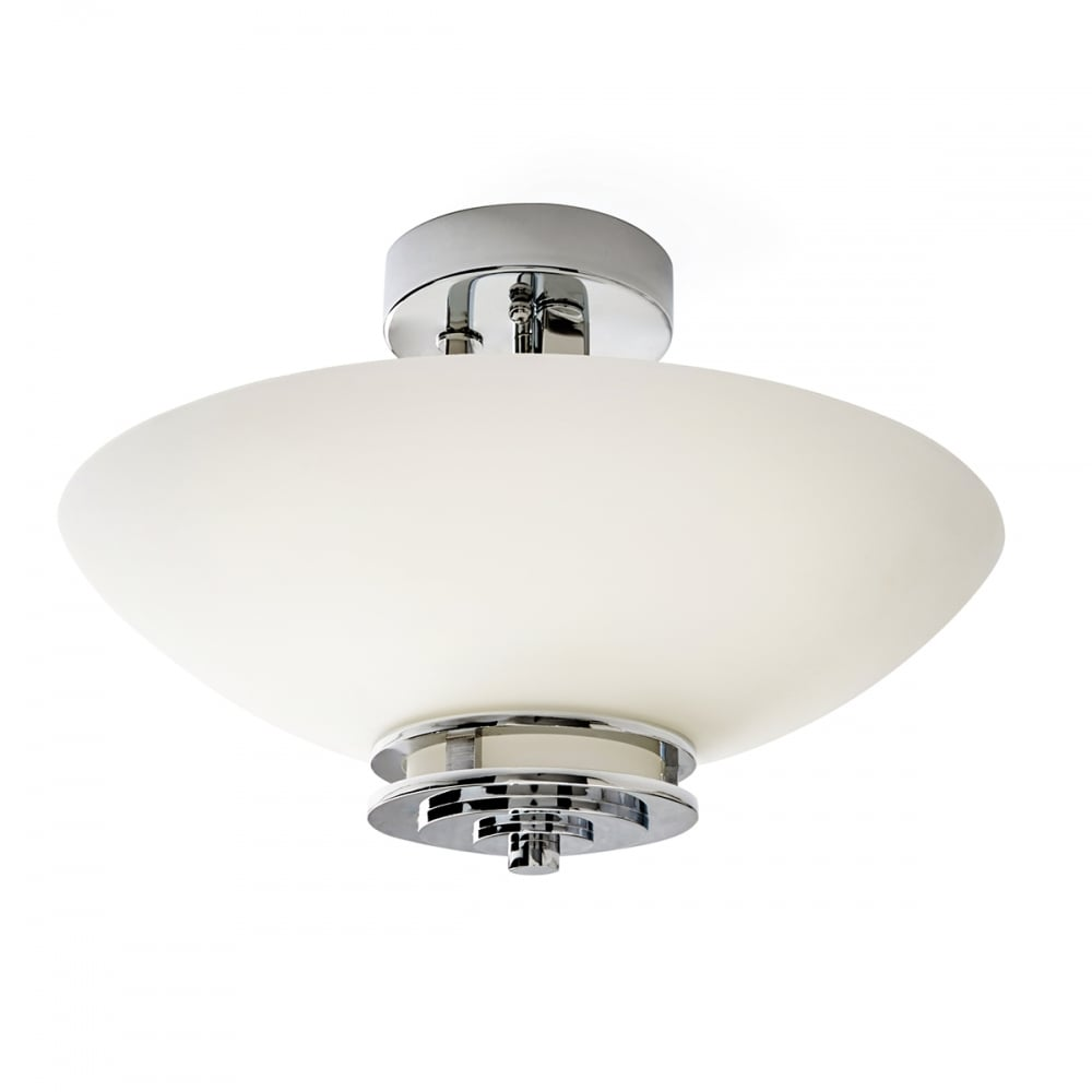 Semi flush fitting bathroom ceiling light in art deco - Art deco bathroom lighting fixtures ...