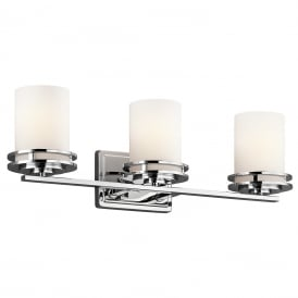 HENDRIK LED over bathroom mirror wall light - chrome with satin glass shades