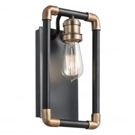 IMAHN industrial style wall light in matt black with brass accents
