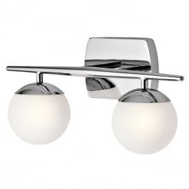 JASPER IP44 chrome bathroom wall light with 2 opal glass globe shades