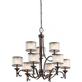 LACEY large 9 light traditional bronze chandelier