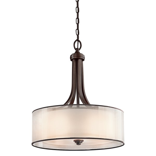 Lacey Bronze Ceiling Pendant Light Opal Glass Drum Shade