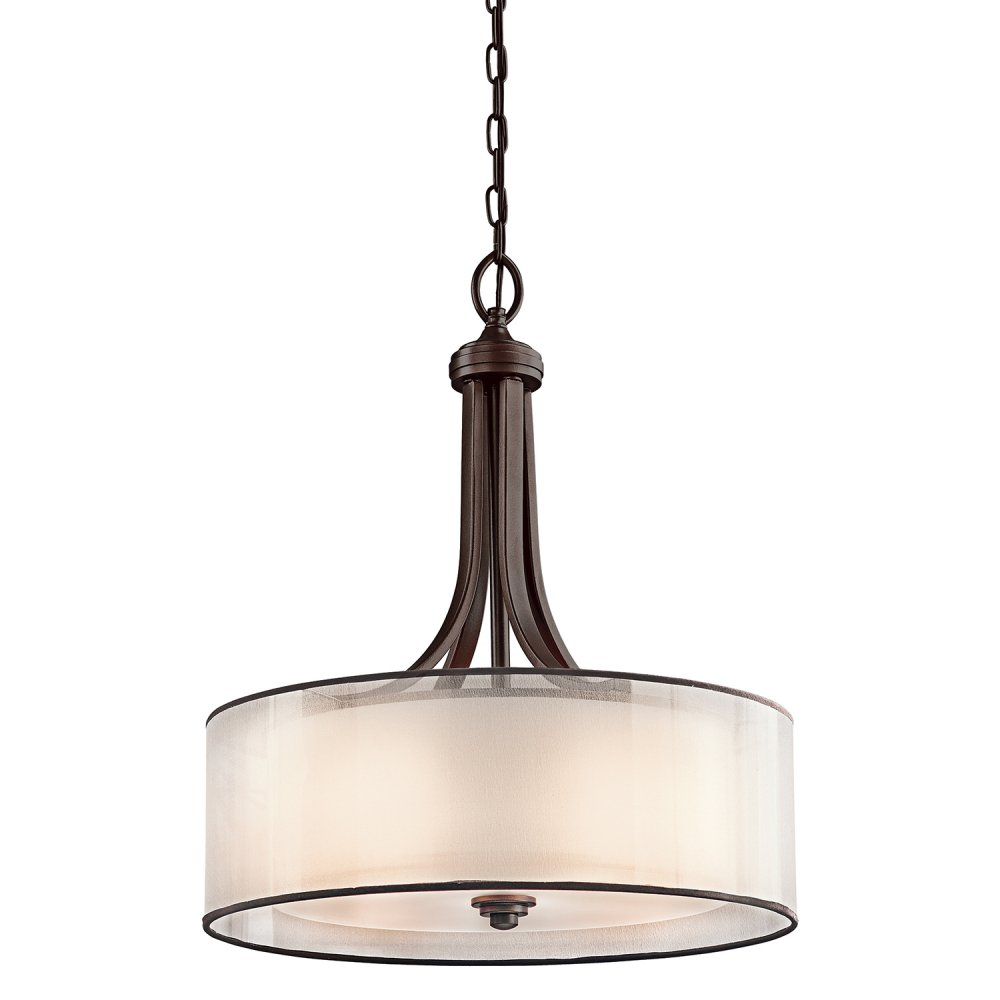 Lacey Bronze Ceiling Pendant Light. Opal Glass Drum Shade