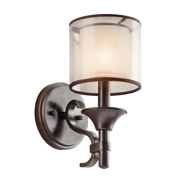 Traditional Bronze Wall Lights : Traditional Single Bronze Wall Light, Inner Glass Shade with Mesh Outer