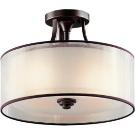 LACEY traditional semi-flush fitting bronze ceiling light with drum shade