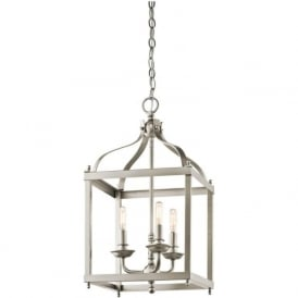 LARKIN brushed nickel hanging lantern - mediium