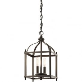 LARKIN traditional bronze hanging hall lantern - small